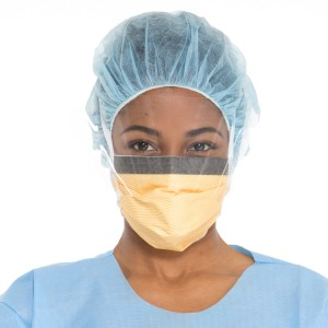FLUIDSHIELD* Level 3 Fog-Free Surgical Mask with  SO SOFT* Lining, Anti-Glare WrapAround Visor, Orange