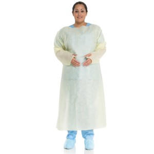 HALYARD* Tri-Layer AAMI Level 2 Over-the-Head Isolation Gown, Thumb Hooks and Elastic Cuffs