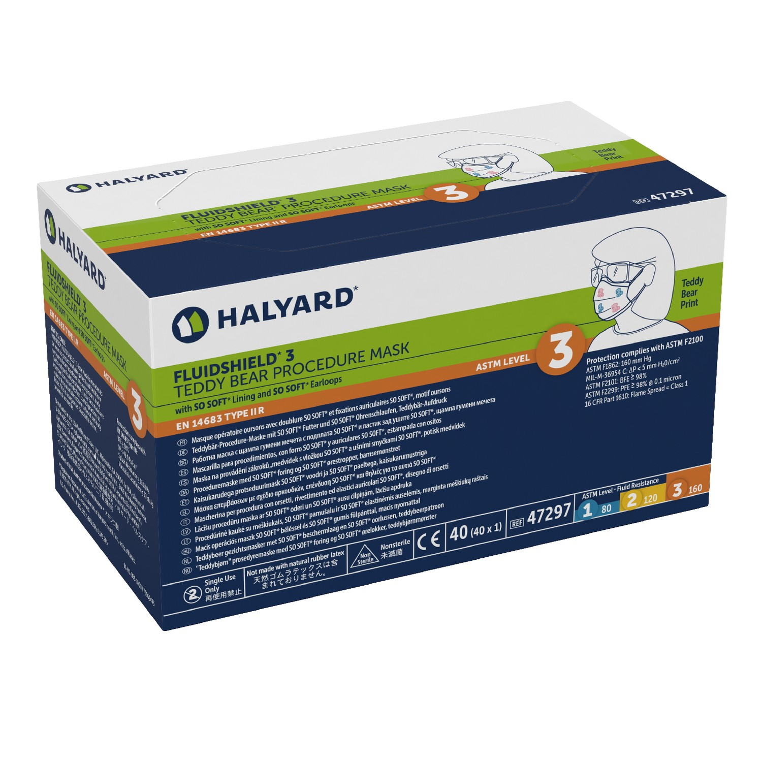 Halyard Fluidshield ASTM Level 3 Triple Layer Filtration EarLoop Fog Free Surgical Grade Masks