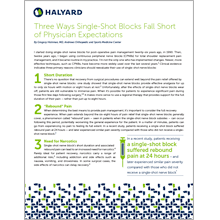 Three Reasons to Avoid Single Shot Nerve Blocks